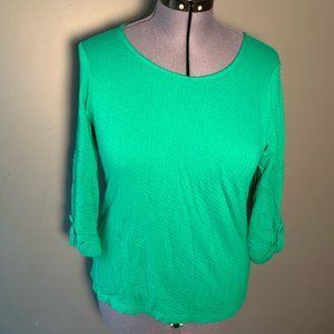 Chico's Boatneck Blouse ¾ Sleeve Green Chevron